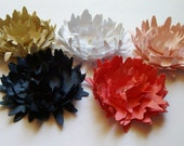 5 Coral and navy spiked paper flowers, layered paper flowers, wedding decoration,scrapbook decoration,table decoration,rosette,embellishment