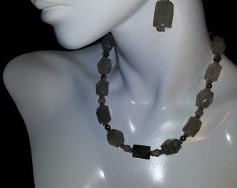 Gray Quartz and Crystal Necklace Set