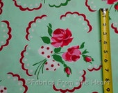 Francie Red Roses White Polka Dot Bows on Aqua BY YARDS Michael Miller Fabric