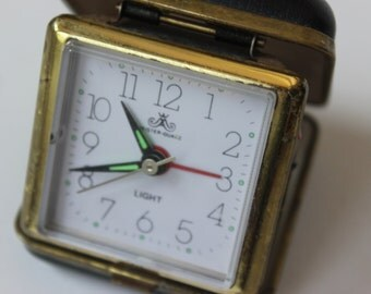 Vintage Travel Alarm Clock Meister-Quartz WIth a Case Analog Clock Antique Travel Alarm Clock