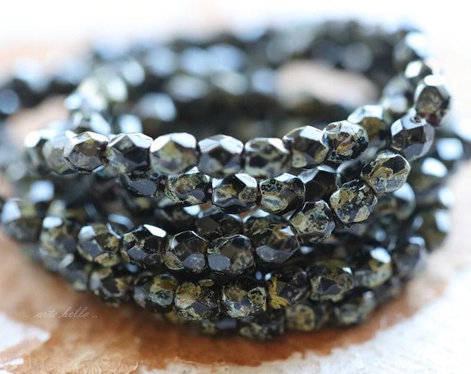 TWILIGHT ROUND BITS .. 50 Picasso Czech Glass Beads 3mm (4220-st)