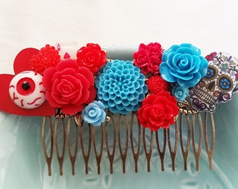 Red Blue Day of the Dead Sugar Skull Cluster Hair Comb - Fascinator Kitschy CoolOffbeat Wedding Bride Horror Gore Tattoo Inspired