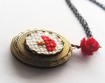 Mini Mushroom Cross stitch Locket Necklace - xstitch fiber art wearable art Amanita muscaria