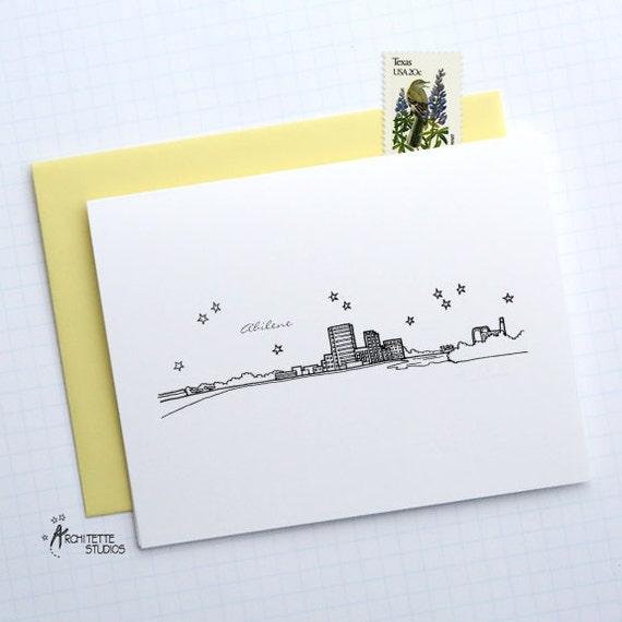 Abilene (TX) United States  city images : Abilene, Texas United States City Skyline Series Folded Cards 6 ...