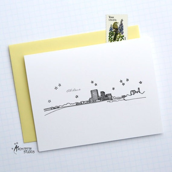 Abilene (TX) United States  City pictures : Abilene, Texas United States City Skyline Series Folded Cards 6 ...