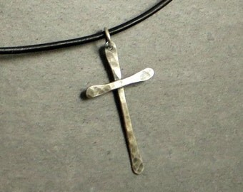 Sterling Silver Cross Necklace, Rustic Cross, Eco Friendly Jewelry, , Gifts for Teen Gifts for Her