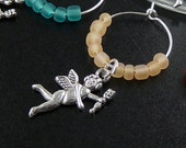 Wine Charms 6 Silver Angel Fairies Cupid Beads Stemware Glass Gifts Wedding Favors (1003win20s1)