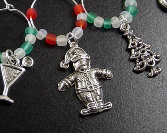 Wine Charms 10 Silver CHRISTMAS HOLIDAY Red Green White Beads Santa Reindeer Snowman Tree Stemware Glass Gifts Wedding Favors (1037win20s1)