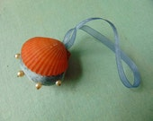 Handy Clam - Coral Shell and Silk Turquoise Velvet Pin Cushion