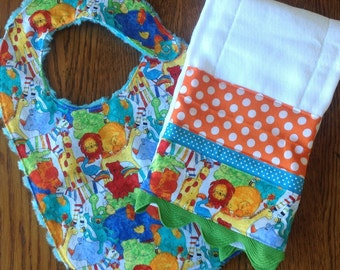 Primary Color Jungle Animals Minky Baby/Toddler Bib and Burp Cloth Set