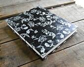 Large Black and Silver Floral Lokta Coptic Stitch Journal, Large Hand Stitched Sketchbook, Hard Cover Art Journal, Silver Wedding Guest Book
