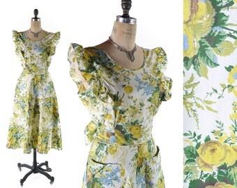 """Vintage 50s Dress // 1950s Dress // Floral Dress // Yellow Dress // Cotton Dress // NOS Never Worn Dress - sz M - 29-30"""" Waist"""