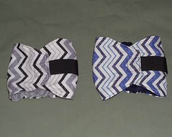 "2 Chevron Male Dog Belly band, 15""-18"", Blues/Grays 
