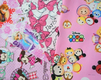 Disney licensed  fabric Disney fabric scrap Disney Tsum tsum Marie Anna Elsa Minnie Mouse  print 9.6 by 9.6 inches each piece 2015Ce