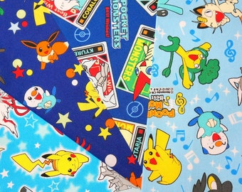 Pokemon fabric pikachu fabric scrap 25 cm by 25 cm or 9.6 by 9.6 inches each 2015Fd