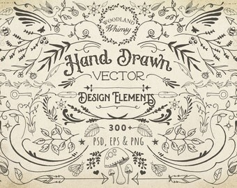 "Hand Drawn ""Woodland Whimsy"" Vector Graphics Design Elements"