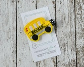 School Bus Felt Hair Clip - Going to School Hair Bows - Black and Yellow School Bus Hair Clippies - First Day of School - Cute hairbows