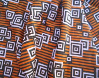 Vintage geometic fabric orange brown white  squares stripes 1970s fabric