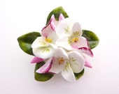 Ceramic Posy Brooch - Violets or Pansies - Charming Flower Jewellery / Jewelry