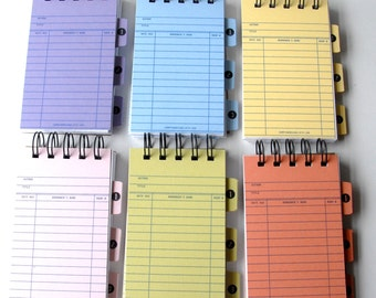 Library Card PASTEL Notebooks with Ledger card dividers