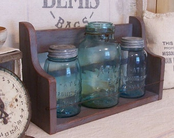Primitive Antique Replica Jar Keep Shelf Kitchen or Bathroom Storage Rustic Wire Handmade Olde Gray Color Choice