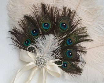 Ostrich and Peacock Feather Fan Bouquet in your choice of colors Great Gatsby Roaring 20s