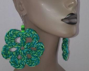 Women's Crocheted Flower Earrings, Women's Earrings, Large Earrings, Big Earrings, Flower Earrings.