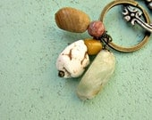 Rustic Brass Keyring or Purse Charm with Messy Stone Cluster: Gravel