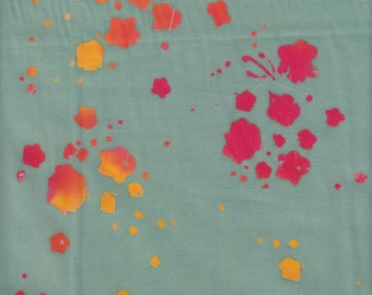 Andover Fabrics Handcrafted Batik Bouquet in Duck Egg - Half Yard