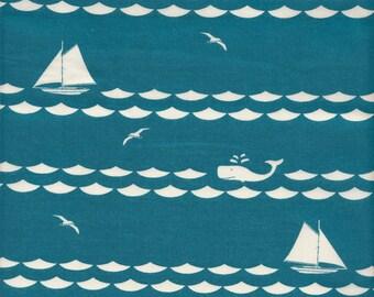 Birch Fabrics Organic Set Sail Stripe in Teal - Half Yard