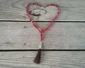 coral and horse hair necklace // nickel free jewelry // red coral necklace // horse hair jewelry // unique handmade jewelry // HEY127
