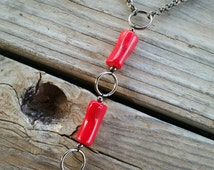 coral body chain // nickel free jewelry // red coral jewelry // body chain jewelry // unique handmade jewelry // HEY121