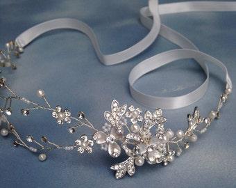 Floral hair vine,Bridal Halo crystal headband,Wedding headband, gold  silver bridal hair accessories, gold loops headband