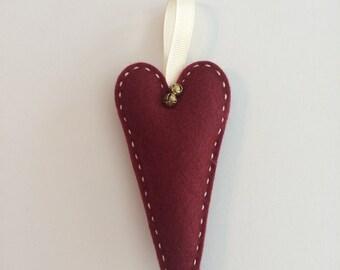 Homespun Heart Felt Ornament