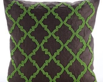 "Handmade Brown Decorative Pillow Cover, Green Beaded Lattice Trellis Pillows Cover Square  18""x18"" Cotton - Green Symphony"