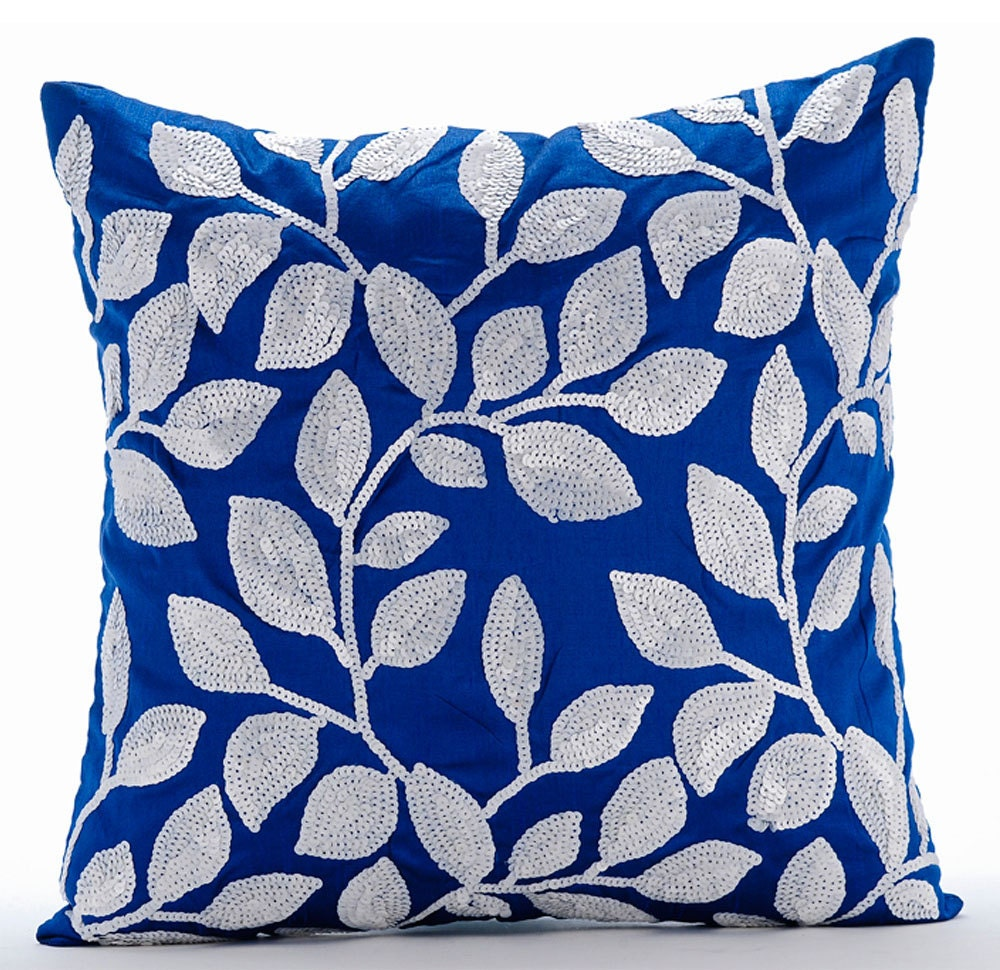 Throw Pillows Royal Blue : Luxury Royal Blue Decorative Pillows Cover 16x16