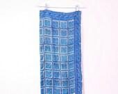 Vintage Silk Scarf | 1950s Blue Silk Hair Neck Scarf