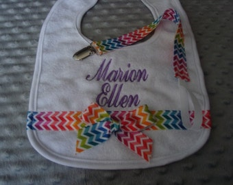 Marion Personalized Bib and Pacifier Clip - Name or up to 3 initials - Paci clip is not Personalized