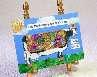 Cow Themed Original Art Card, ACEO, Mixed Media Collage, fashionista theme
