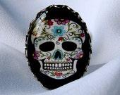 Sweet Floral Swirls Adjustable Sugar Skull Ring