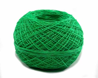 Crochet Thread 3 Ply Linen Thread Bright Malachite Green Very Fine Linen Yarn Specialty Thread Tatting Thread Natural Fiber Flax