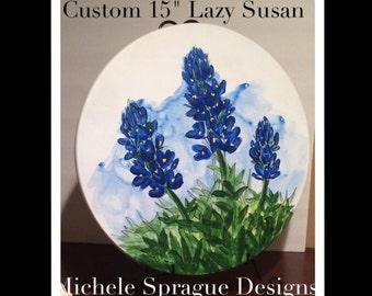 """Custom Lazy Susan - 15"""" Bluebonnets"""