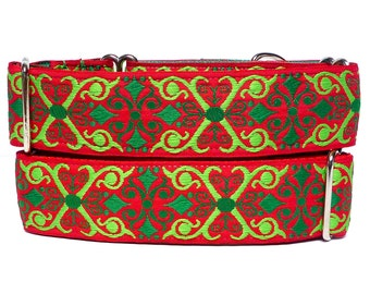 "1.5"" wide CHRISTMAS CAMELOT Holiday Martingale Dog Collar"