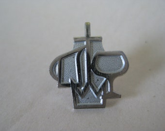 Christian Tie Tack Silver White Vintage Pin Lapel