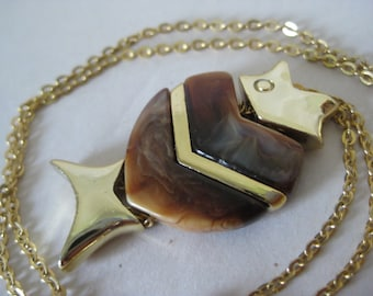 Fish Brown Gold Necklace Vintage Pendant Plastic Dangle