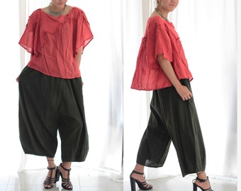 Soft cotton Pants 135 (B) ...( Petite) /  Harem Pants / Summer Pants/ capris pants