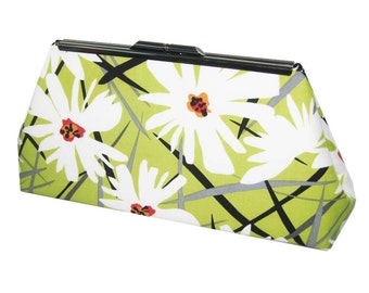 SALE - Ready to Ship - Modern Clutch - Green White Contemporary Floral