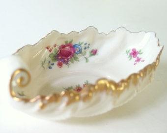 Vintage Candy Dish - Gold Rimmed Lenox Rose J300 Bonbon Dish