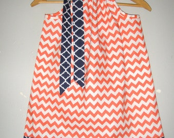 SALE pillowcase dress Orange Navy Dress Riley Blake navy trim dress  fabric pillowcase dress 3,6,9,12,18 month 2t, 3t,4t, 5t,6,7, 8 10,12