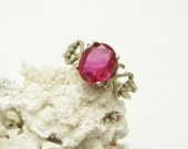 Vintage Sterling Ring Fuscia Pink Size 10 Jewelry  R6557